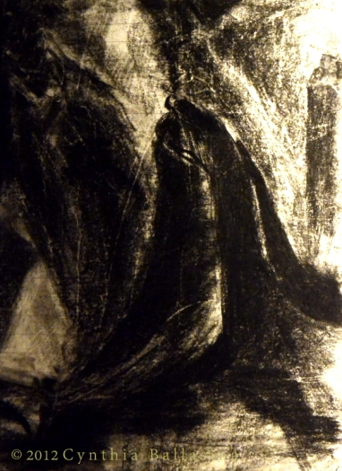 Study for 'Que dites-vous' (2012) Charcoal on paper