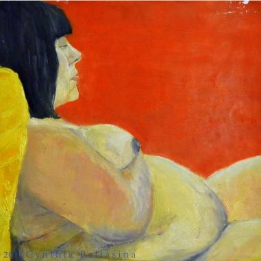 Model Study P. (2011) Oil on wallpaper