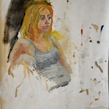 A Study of A. Sitting Down (2011) Oil on wallpaper