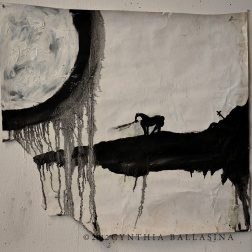 Après Viaticum; The Squire, The Horse and The Priest (pt. 3) (2012) Oil on wallpaper