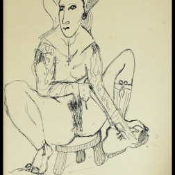 Nun and Hiking Shoe (2013) pen on paper
