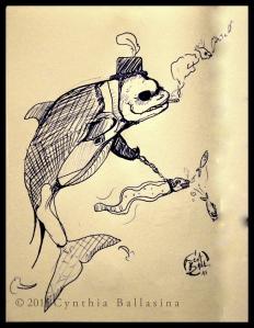Monsieur Baleine et Son Chien (2015) pen on paper