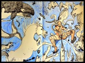 L'Attaque des Bêtes (2016) pen&crayons on paper