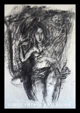 La Déesse (2015) charcoal on paper