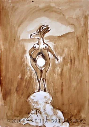 Madame Capricorne porte le monde (2016) bister on paper