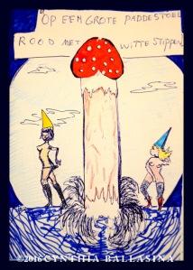Op een grote paddenstoel... (2016) pen & crayon on paper