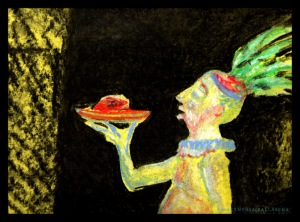 Dinner is served (2016) pastel on paper